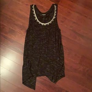 Charcoal beaded tank top with open back size small